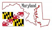 Maryland State Map And Flag