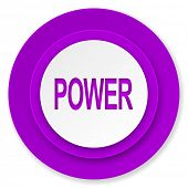 power icon, violet button