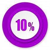 10 percent icon, violet button, sale sign