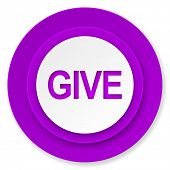 give icon, violet button