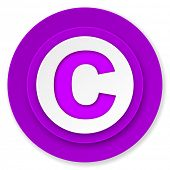 copyright icon, violet button