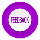 feedback icon, violet button