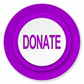 donate icon, violet button