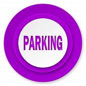 parking icon, violet button