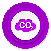 carbon dioxide icon, violet button, co2 sign