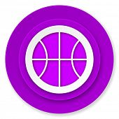 ball icon, violet button, basketball sign