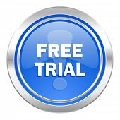 free trial icon, blue button