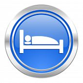 hotel icon, blue button, bed sign