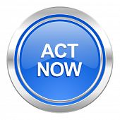 act now icon, blue button