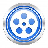 film icon, blue button