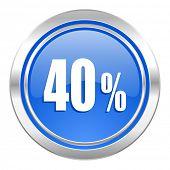 40 percent icon, blue button, sale sign