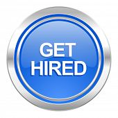 get hired icon, blue button