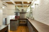 Architecture, wide loft, domestic kitchen view