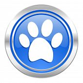 foot icon, blue button