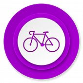 bicycle icon, violet button, bike sign