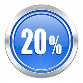 20 percent icon, blue button, sale sign