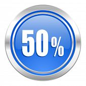 50 percent icon, blue button, sale sign