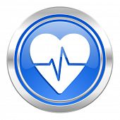 pulse icon, blue button, heart rate sign
