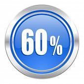 60 percent icon, blue button, sale sign