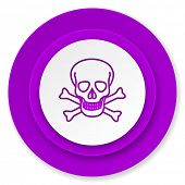 skull icon, violet button, death sign