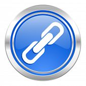 link icon, blue button, chain sign