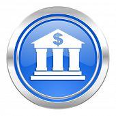 bank icon, blue button