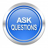 ask questions icon, blue button