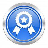 award icon, blue button, prize sign