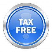 tax free icon, blue button