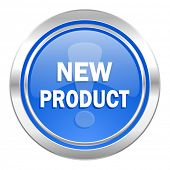new product icon, blue button