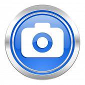 photo camera icon, blue button, photography sign