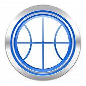 ball icon, blue button, basketball sign