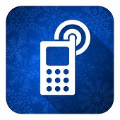 phone flat icon, christmas button, mobile phone sign