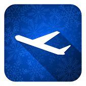 deparures flat icon, christmas button, plane sign