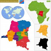 Map of Democratic Republic of the Congo with high detail and accuracy and it is divided into provinces which are colored with different bright colors