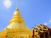 Golden Pagoda And Blue Sky