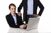 Young Attractive Businesswoman Suffering Sexual Harassment And Abuse Of Colleague Or Office Boss