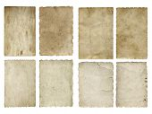 High resolution concept or conceptual old vintage paper background set or collection isolated on white