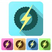 Set Flat icons of round wheel with lightning. Eco electric transport theme.