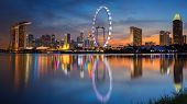 foto of singapore night  - Landscape of Singapore city with sun set - JPG