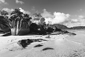 Large Rock Formations on Isolated Beach Paradise at Anse Lislette, Seychelles