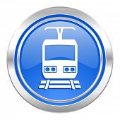 train icon, blue button, public transport sign