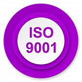 iso 9001 icon, violet button
