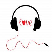 Black Headphones With Red Cord. Isolated. Love Card.