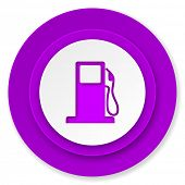 petrol icon, violet button, gas station sign