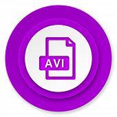 avi file icon, violet button