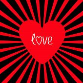 Red Heart With Sunburst. Love Card.