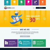 Corporate Metro Website Template. Modern Flat Web Design. Colorful Vector Background