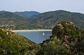 Greek coast landscape at morning near Sikia bay at Sithonia
