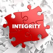 stock photo of integrity  - Integrity on Red Puzzle on White Background - JPG